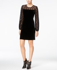 Fair Child Velour Lace Contrast Dress Black