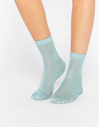 Asos Glitter Ankle Socks Mint Green