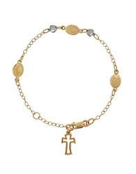 Lord And Taylor 14K Yellow White Gold Rosary Charm Bracelet Yellow Gold