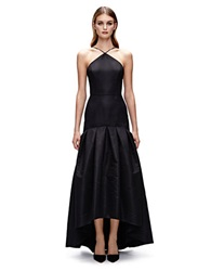 Jill Stuart Silk Blend Pleated High Low Dress Black