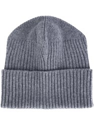 Stella Mccartney Ribbed Beanie Grey