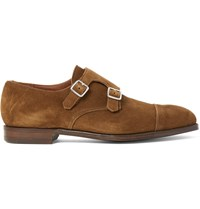 George Cleverley Thomas Suede Monk Strap Shoes Brown