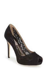 Badgley Mischka Women's 'Nerissa' Lace Peep Toe Pump Black Lace