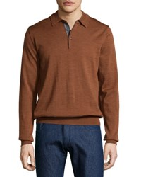 Neiman Marcus Wool Long Sleeve Polo Shirt Burnt