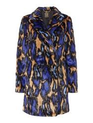 Biba Leopard Abstract 60S Style Fur Coat Multi Coloured