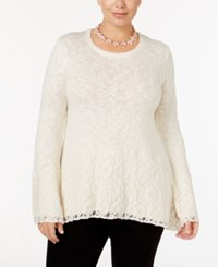 Styleandco. Style Co. Plus Size Bell Sleeve Lace Metallic Sweater Only At Macy's Warm Ivory