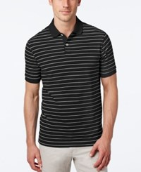 Club Room Men's Big And Tall Performance Uv Protection Striped Polo Deep Black