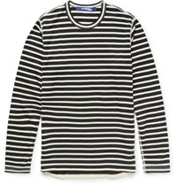 Junya Watanabe Sim Fit Striped Cotton Bend T Shirt Back Black