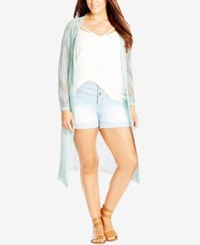 City Chic Plus Size Crochet Duster Cardigan Sea Foam