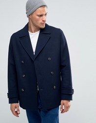 Asos Wool Mix Peacoat In Navy Navy