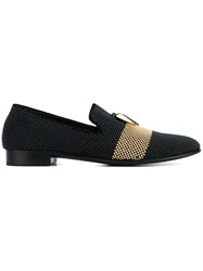 Giuseppe Zanotti Design Two Tone Studded Slippers Black