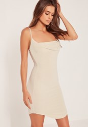 Missguided Cowl Front Lurex Bodycon Dress Gold Gold