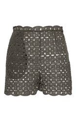 Blumarine Eyelet High Waisted Shorts Dark Green