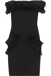 Christopher Kane Off The Shoulder Plisse Organza Ruffled Stretch Crepe Mini Dress Black