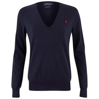 Polo Ralph Lauren Women's V Neck Jumper Navy Blue