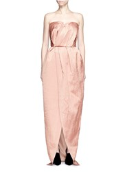 Lanvin Crinkled Wool Silk Sweetheart Neck Gown Pink