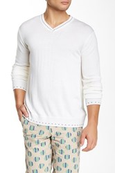 Robert Graham New Castle Wool V Neck Sweater White