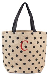 Cathy's Concepts Personalized Polka Dot Jute Tote Black Black C