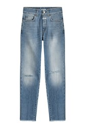 Closed Distressed Straight Leg Jeans Blue