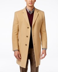 Tommy Hilfiger Barnes Cashmere Blend Overcoat Trim Fit Camel