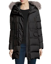 Moncler Fragonette Quilted Puffer Coat W Detachable Fur Hood Black