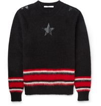 Givenchy Striped Mohair Blend Sweater Black