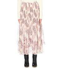 See By Chloe Paisley Print Cotton Georgette Skirt Winter White