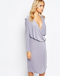 Love Slinky Drape Front Midi Dress With Long Sleeves Dovegrey