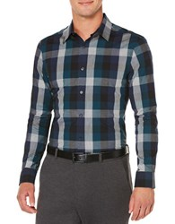Perry Ellis Classic Fit Exploded Plaid Dress Shirt Black