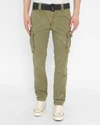 Schott Nyc Khaki Cargo Washed Trousers