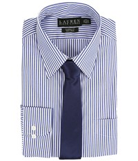 Lauren Ralph Lauren Bengal Stripe Spread Collar Classic Button Down Shirt Blue White Men's Long Sleeve Button Up