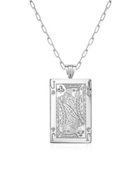 Sho London Sterling Silver Jack Of Clubs Necklace