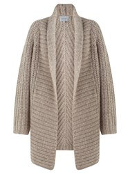 Jigsaw Heavy Rib Throw Cardigan Oatmeal