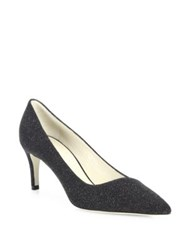 Giorgio Armani Shimmer Suede Asymmetrical Point Toe Pumps Black
