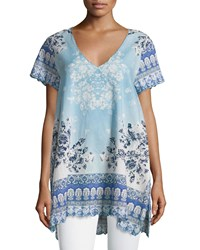 Johnny Was Pepin Short Sleeve Floral Print Voile Top Multi