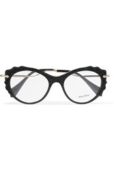 Miu Miu Cat Eye Embellished Acetate And Gold Tone Optical Glasses Black