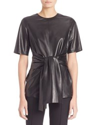 Escada Tie Front Leather Blouse Black