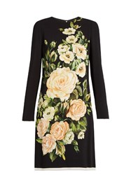 Dolce And Gabbana Floral Print Long Sleeved Crepe Dress Black Multi