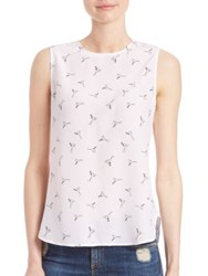 Equipment Lyle Sleeveless Cocktail Printed Blouse Bright White