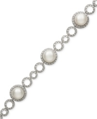 Belle De Mer Cultured Freshwater Pearl 12Mm And Cubic Zirconia Bracelet In Silver Plated Brass