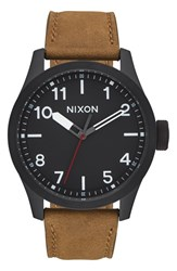 Nixon 'Safari' Leather Strap Watch 43Mm