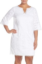 Plus Size Women's Adrianna Papell Split Neck Bell Sleeve Eyelet Shift Dress
