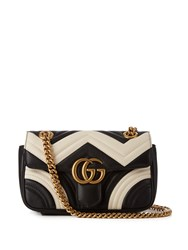 Gucci Gg Marmont Mini Quilted Leather Cross Body Bag Black White