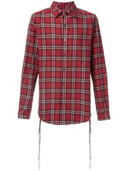 Amiri Lace Detail Plaid Shirt Red