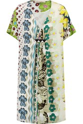 Etro Printed Silk Chiffon Shirt Dress Green
