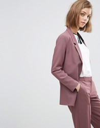 Asos Slim Tailored Jacket In Crepe Berry Purple