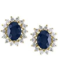 Effy Collection Royale Bleu Sapphire 2 7 8 Ct. T.W. And Diamond 5 8 Ct. T.W. Stud Earrings In 14K Gold Yellow Gold