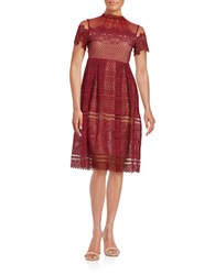 Design Lab Lord And Taylor Crochet Overlay Illusion Dress Berry