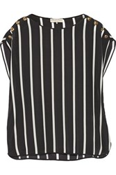 Emilio Pucci Striped Silk Crepe De Chine Top Black