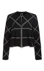 Zac Posen Windowpane Cady Jacket Black